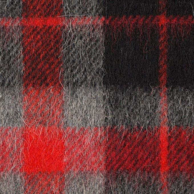 ウール&アルパカ混×チェック(レッド、グレー&ブラック)×かわり織_全2色 イメージ1