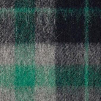 ウール&アルパカ混×チェック(グリーン、グレー&ブラック)×かわり織_全2色