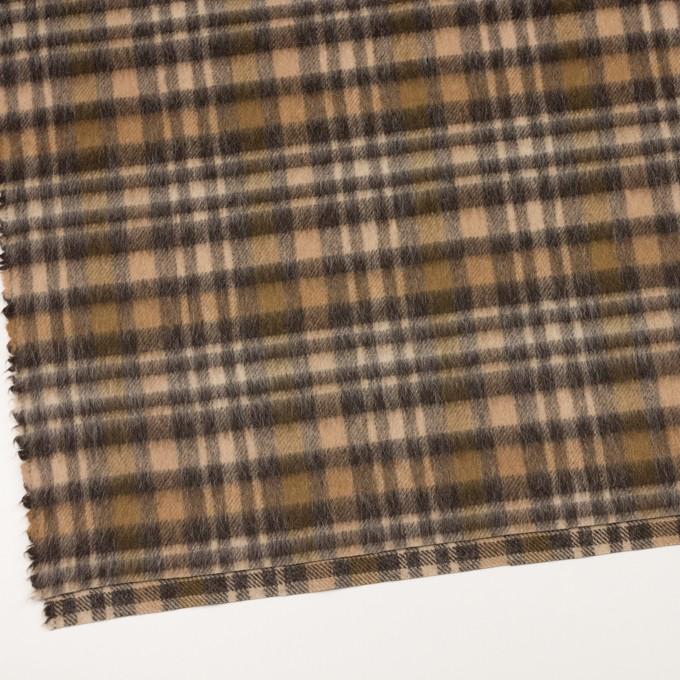 ウール&アルパカ混×チェック(ブラウン)×かわり織 イメージ2
