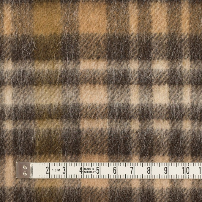 ウール&アルパカ混×チェック(ブラウン)×かわり織 イメージ4