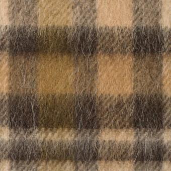 ウール&アルパカ混×チェック(ブラウン)×かわり織