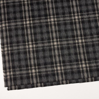 ウール&アルパカ混×チェック(チャコールグレー)×かわり織 サムネイル2