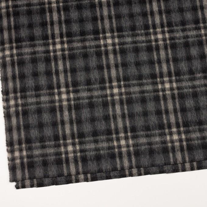 ウール&アルパカ混×チェック(チャコールグレー)×かわり織 イメージ2