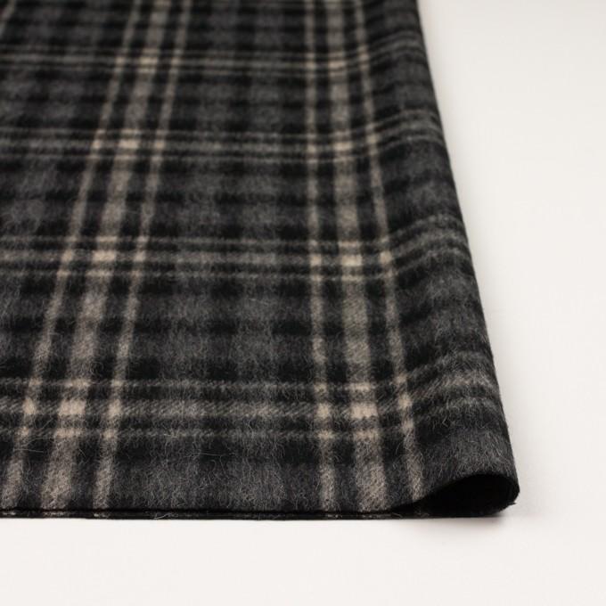 ウール&アルパカ混×チェック(チャコールグレー)×かわり織 イメージ3