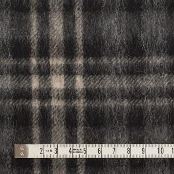 ウール&アルパカ混×チェック(チャコールグレー)×かわり織 サムネイル4