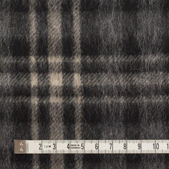 ウール&アルパカ混×チェック(チャコールグレー)×かわり織 イメージ4