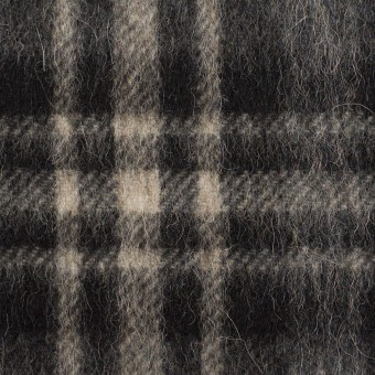 ウール&アルパカ混×チェック(チャコールグレー)×かわり織