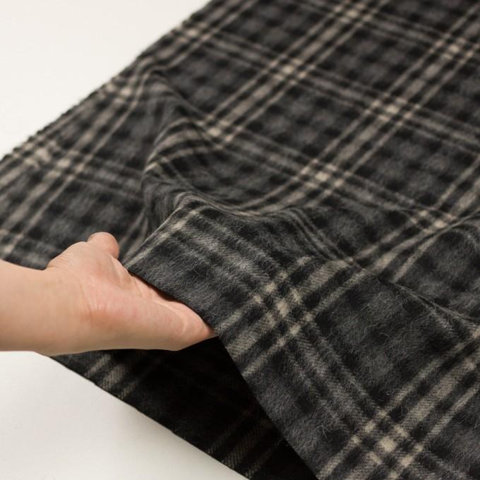 ウール&アルパカ混×チェック(チャコールグレー)×かわり織 イメージ5