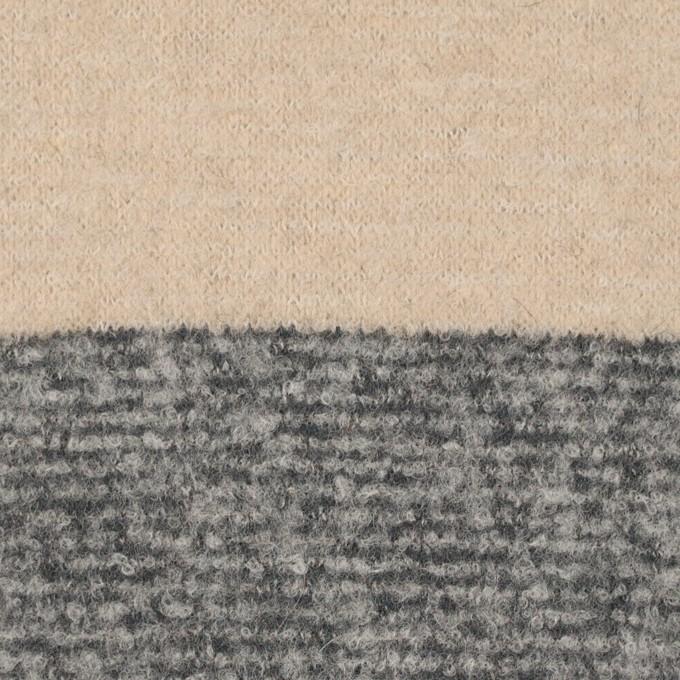 ウール&ナイロン×ボーダー(ベージュ&グレー)×ループニット イメージ1
