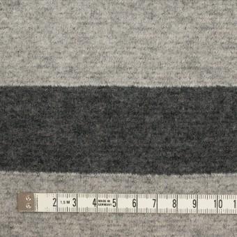 ウール&ナイロン×ボーダー(ライトグレー&チャコールグレー)×ループニット サムネイル4