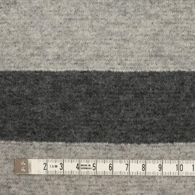 ウール&ナイロン×ボーダー(ライトグレー&チャコールグレー)×ループニット イメージ4