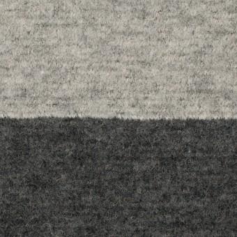 ウール&ナイロン×ボーダー(ライトグレー&チャコールグレー)×ループニット