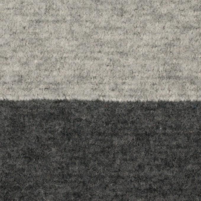 ウール&ナイロン×ボーダー(ライトグレー&チャコールグレー)×ループニット イメージ1