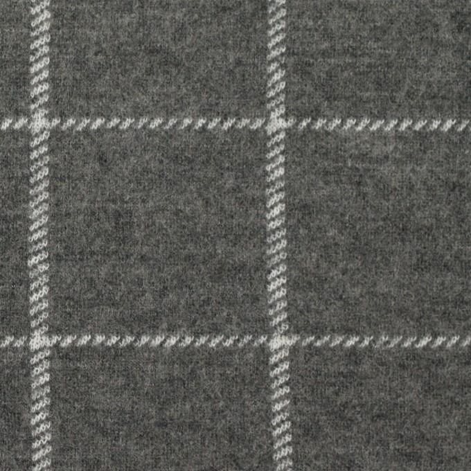 ウール&ナイロン×チェック(チャコールグレー)×Wニット イメージ1