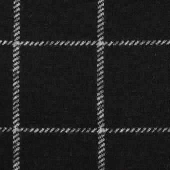 ウール&アクリル×チェック(ブラック)×Wニット