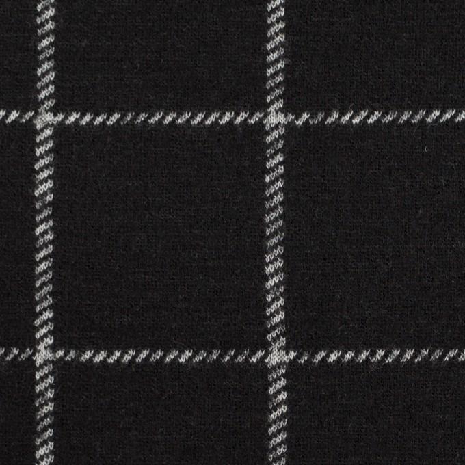 ウール&アクリル×チェック(ブラック)×Wニット イメージ1