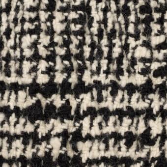 ウール&ポリウレタン×チェック(キナリ&ブラック)×ファンシーツイード_シャーリング