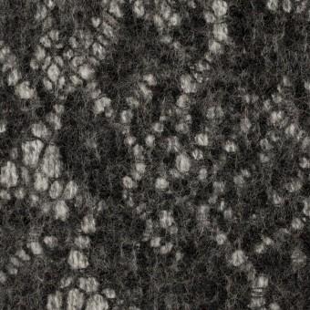 ウール&アクリル混×フラワー(ライトグレー&チャコール)×メッシュニット&レース