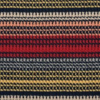 コットン×ボーダー(マルチ)×かわり編み