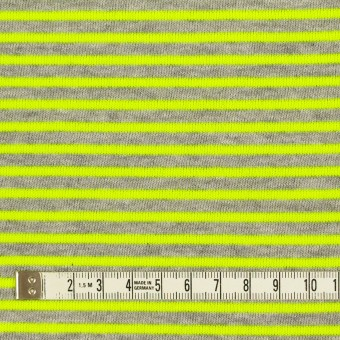 コットン&ポリエステル×ボーダー(ネオングリーン)×裏毛ニット サムネイル4
