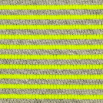 コットン&ポリエステル×ボーダー(ネオングリーン)×裏毛ニット