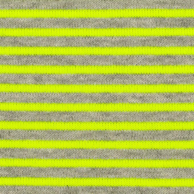 コットン&ポリエステル×ボーダー(ネオングリーン)×裏毛ニット イメージ1