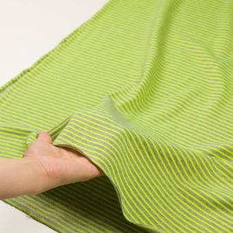コットン&ポリエステル×ボーダー(ネオングリーン)×裏毛ニット サムネイル5