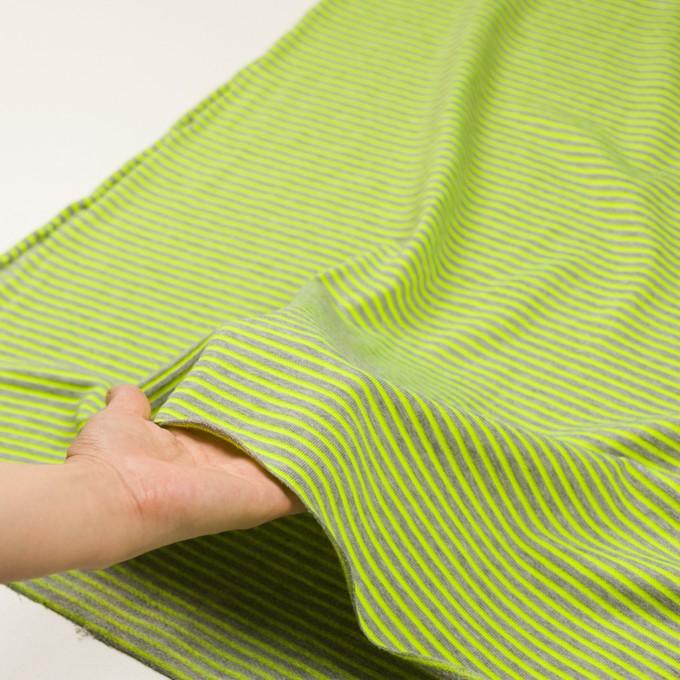 コットン&ポリエステル×ボーダー(ネオングリーン)×裏毛ニット イメージ5