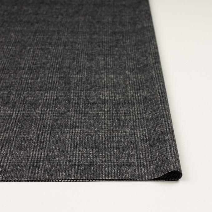 ウール×チェック(チャコールグレー)×かわり織_イタリア製 イメージ3