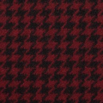 ウール&コットン×チェック(ガーネット&ブラック)×千鳥格子
