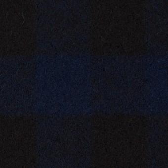 ウール×チェック(ネイビー&ブラック)×ツイード_全2色