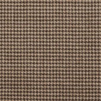ウール&ポリウレタン×チェック(モカ)×千鳥格子ストレッチ