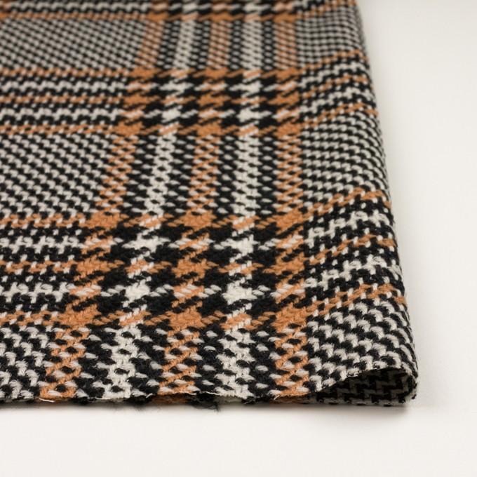 ウール&アクリル×チェック(アプリコット&ブラック)×かわり織 イメージ3