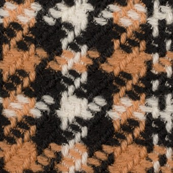 ウール&アクリル×チェック(アプリコット&ブラック)×かわり織