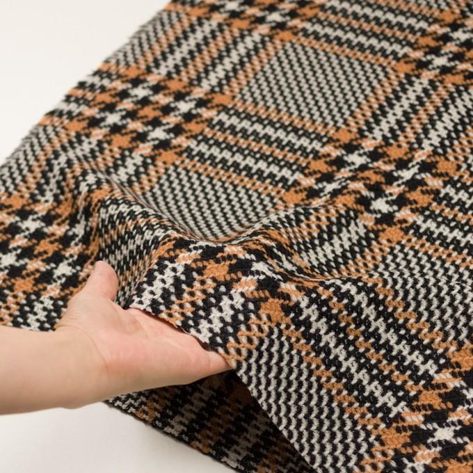 ウール&アクリル×チェック(アプリコット&ブラック)×かわり織 イメージ5