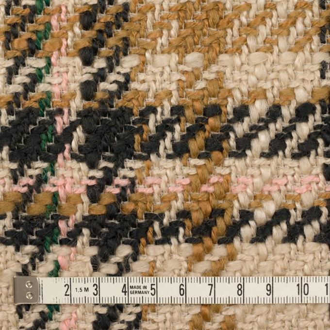 アクリル&ウール混×チェック(ベージュ、キャメル&ダークネイビー)×ファンシーツイード イメージ4