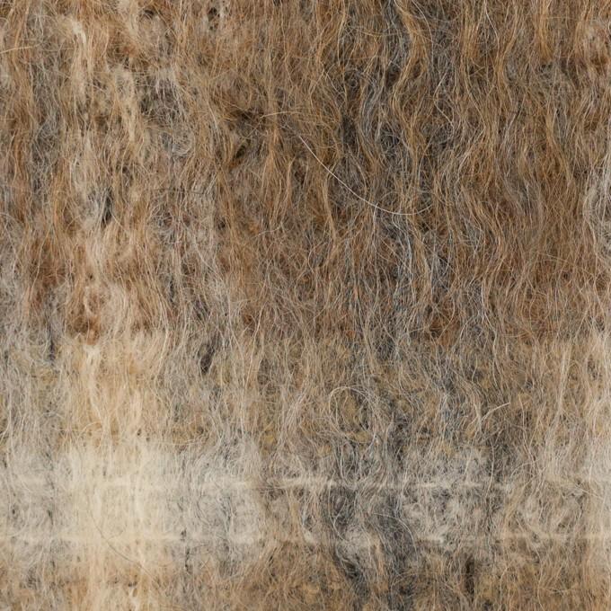 ウール×チェック(セピア)×シャギー イメージ1