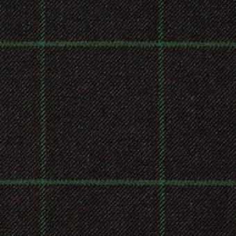 ポリエステル&レーヨン混×チェック(チャコール)×サージストレッチ サムネイル1
