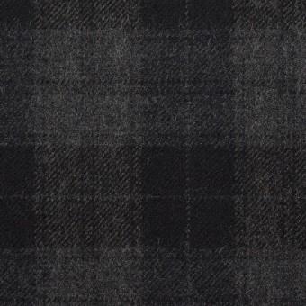ウール×チェック(グレー&ブラック)×サージ