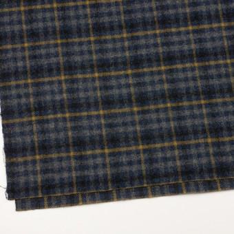 ウール×チェック(グレー、ネイビー&マスタード)×かわり織 サムネイル2