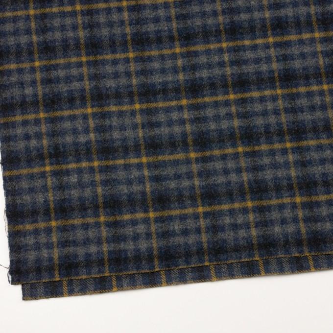 ウール×チェック(グレー、ネイビー&マスタード)×かわり織 イメージ2