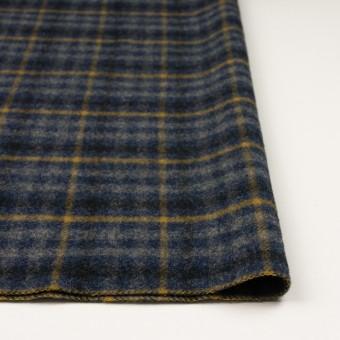 ウール×チェック(グレー、ネイビー&マスタード)×かわり織 サムネイル3