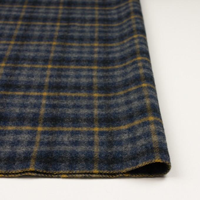 ウール×チェック(グレー、ネイビー&マスタード)×かわり織 イメージ3