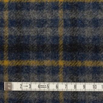 ウール×チェック(グレー、ネイビー&マスタード)×かわり織 サムネイル4