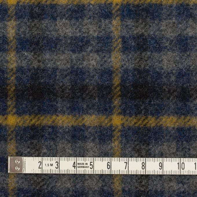 ウール×チェック(グレー、ネイビー&マスタード)×かわり織 イメージ4