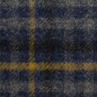 ウール×チェック(グレー、ネイビー&マスタード)×かわり織