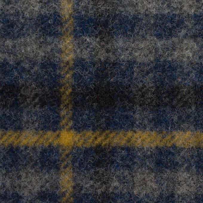 ウール×チェック(グレー、ネイビー&マスタード)×かわり織 イメージ1