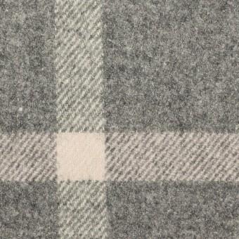 ウール&ポリウレタン×チェック(グレー)×フラノ(フランネル)