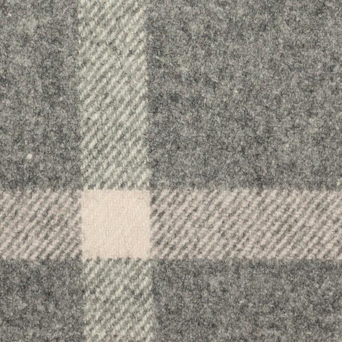 ウール&ポリウレタン×チェック(グレー)×フラノ(フランネル) イメージ1
