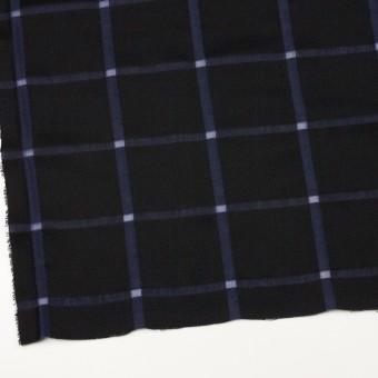 ウール&コットン×チェック(ブラック&グレープ)×かわり織 サムネイル2